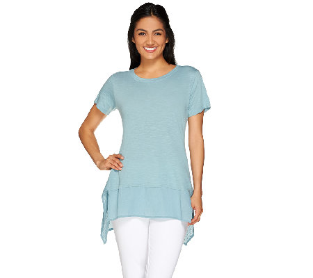 LOGO by Lori Goldstein Cotton Slub Knit Top with Swiss Dot Hem