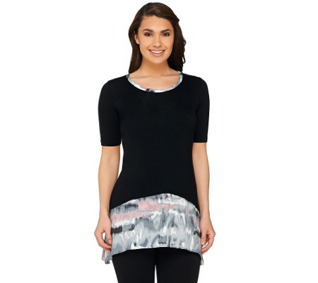 LOGO by Lori Goldstein Petite Knit Top with Printed Trim