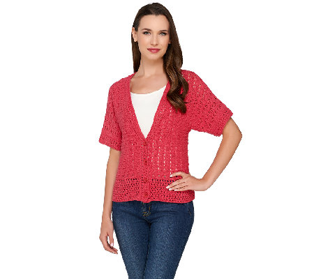 Denim & Co. Crochet Short Sleeve Button Front Cardigan