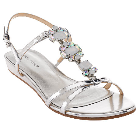 Marc Fisher Jeweled Sandals with Backstrap - Peple