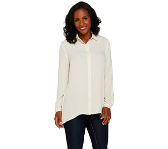 Susan Graver Feather Weave Long Sleeve Button Front Shirt - A266796