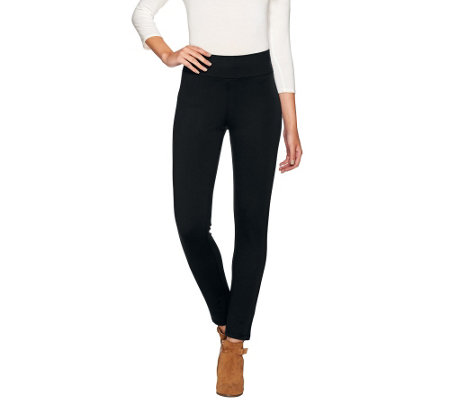 LOGO by Lori Goldstein Pull-On Ponte Knit Slim Leg Pants
