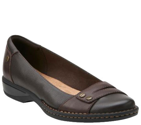 Clarks Leather Slip-on Shoes - Pegg Abbie
