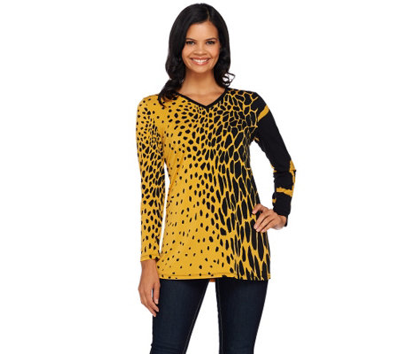 Susan Graver Printed Liquid Knit Long Sleeve V-neck Tunic