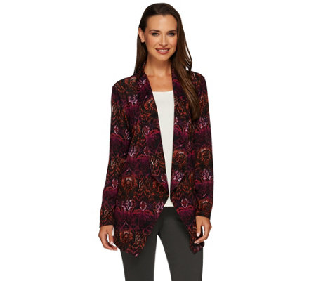 Susan Graver Printed Sweater Knit Drape Front Cardigan