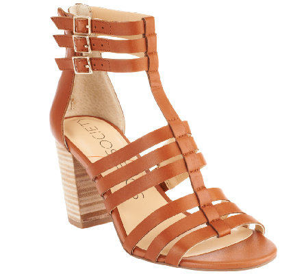"""As Is"" Sole Society Leather Block Heel Sandals - Elise"
