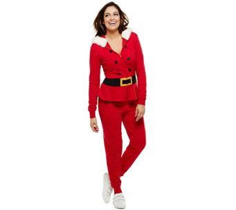 Bethany Mota Zip Front Hooded Santa Jumpsuit - A273796