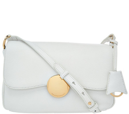Isaac Mizrahi Live! Whitney Pebble Leather Crossbody w/ Circle Hardware