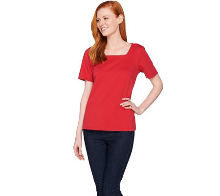 Joan Rivers Wardrobe Builders Square Neck Tee Shirt