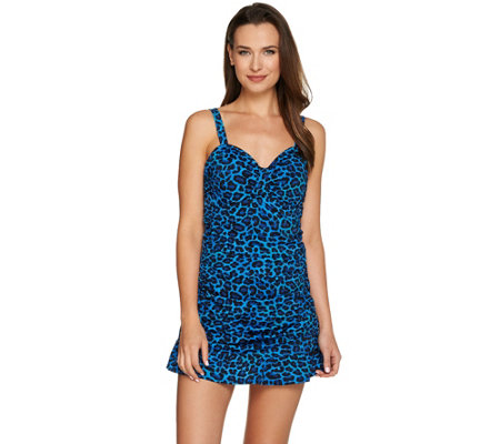 Denim & Co. Beach Ruched Swim Dress