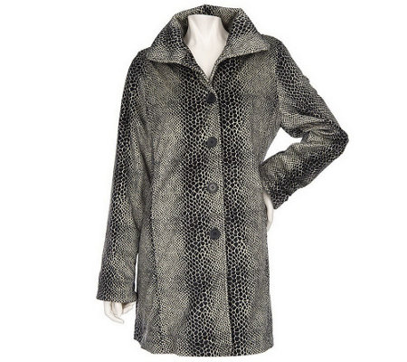 """As Is"" Dennis Basso Snake Print Flat Faux Fur Coat"
