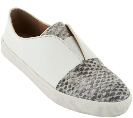 LOGO by Lori Goldstein Leather Slip-On Sneakers with Goring