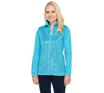 """As Is"" Quacker Factory Sequin Front Rhinestone Zip Terry Jacket - A278496"