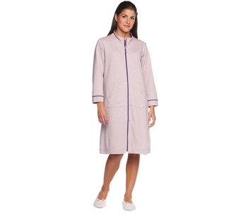 """As Is"" Stan Herman Yarn Dye French Terry Striped Zip Lounger - A279696"