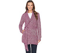 Isaac Mizrahi Live! Shawl Collar Sweater Coat with Belt - A281396