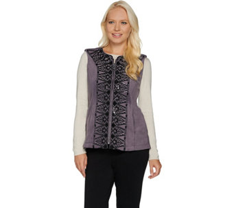 Bob Mackie's Sequin and Embroidered Fleece Vest - A282196