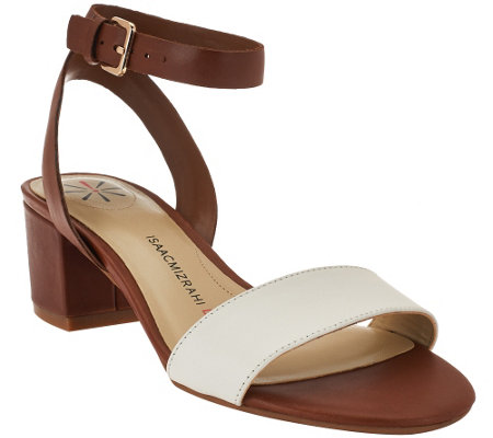 """As Is"" Isaac Mizrahi Live! Ankle Strap Sandals with Heel"