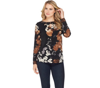 Susan Graver Artisan Printed Liquid Knit Tunic with Keyhole - A284796