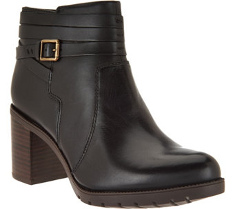 Clarks Artisan Leather Ankle Boots w/ Strap Detail - Malvet Maria - A285396