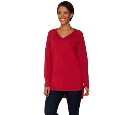 """As Is"" C. Wonder Essentials V-neck LS Slub Knit Tunic"