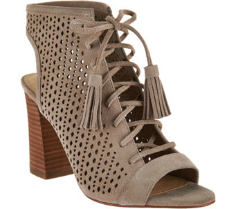 Marc Fisher Suede Lace-up Perforated Ankle Boots - Satire - A288696