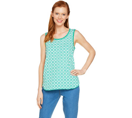 C. Wonder Trellis Print Tank Top with Pom Pom Trim