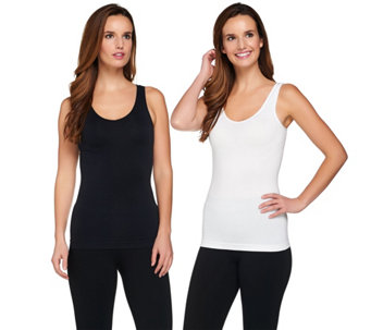 """As Is"" Breezies Set of 2 Reversible Seamless Tanks - A290396"