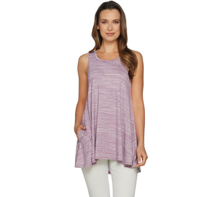 LOGO by Lori Goldstein Jersey Knit Swing Tank with Hi-Low Hem
