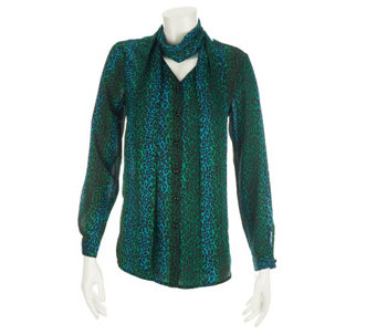 """As Is"" Bob Mackie's Ombre Leopard Print Blouse and Scarf - A291396"