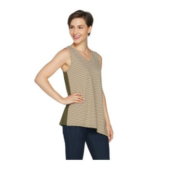 Susan Graver Striped Stretch Cotton Modal Reversible Sleeveless Top