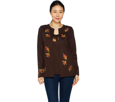 Quacker Factory Autumn Leaves Long Sleeve Knit Duet Set