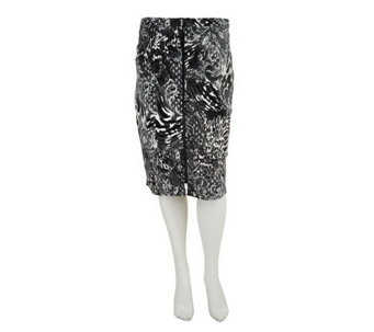 """As Is"" George Simonton Printed Pointe Knit skirt w/ Zipper Detail - A293296"