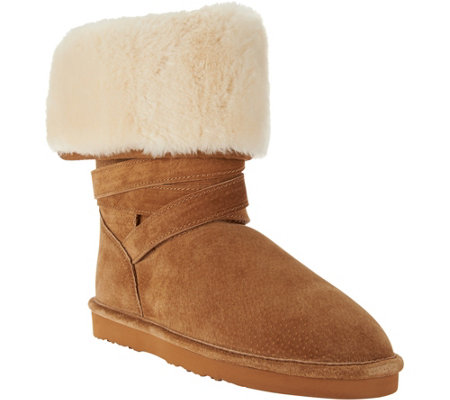 """As Is"" Lamo Water Resistant Suede Faux Fur Tall Boots - Savoy"