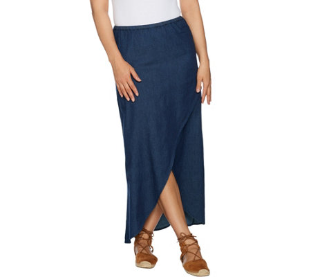 Studio by Denim & Co. Faux Wrap Chambray Skirt