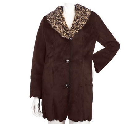 """As Is"" Dennis Basso Faux Shearling Jacket with Rosette Collar"