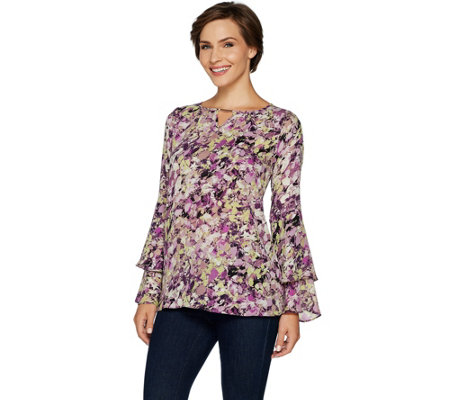 Belle by Kim Gravel Woven Blouse with Ruffled Sleeves