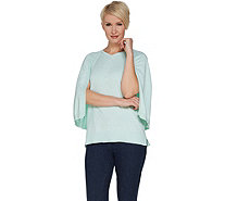 H by Halston Marled V-Neck Pullover Sweater Cape - A300996