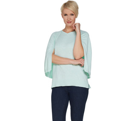 H by Halston Marled V-Neck Pullover Sweater Cape