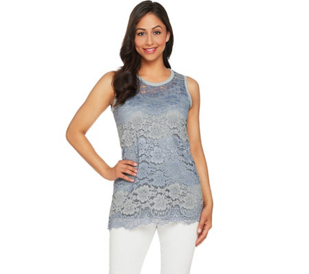 """As Is"" LOGO by Lori Goldstein Lace Tank and Solid Tank Twin Set"