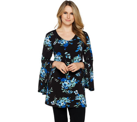 """As Is"" Du Jour Choice of Print V-Neckline Bell Sleeve Knit Top"