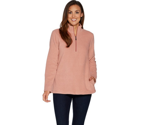 Denim & Co. Chenille Fleece Half Zip Long Sleeve Pullover Top
