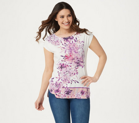 Studio by Denim & Co. Printed Dolman Cap Sleeve Curved Hem Top