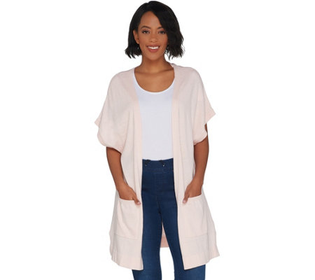 """As Is"" Martha Stewart Open Front Extended Shoulder Cardigan"