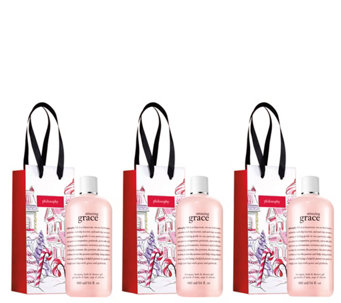 philosophy amazing grace 3-in-1 shower gels w/gift bags - A356096
