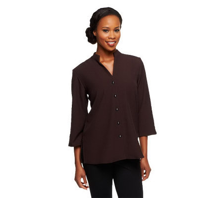 Susan Graver Stretch Crepe 3/4 Sleeve Mandarin Collar Shirt Jacket