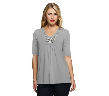 Susan Graver Liquid Knit Deep V-Neck Top with Metallic & Colored Stones