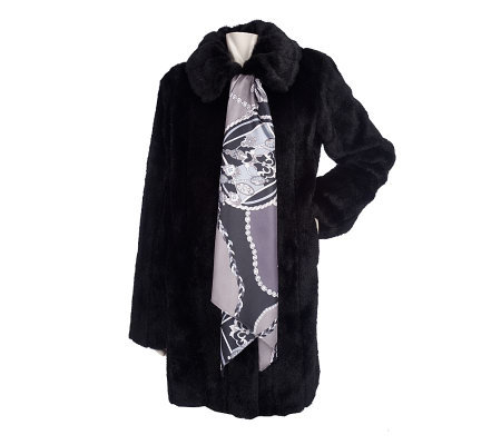 Dennis Basso Black Pelted Faux Fur Mink Coat with Printed Scarf