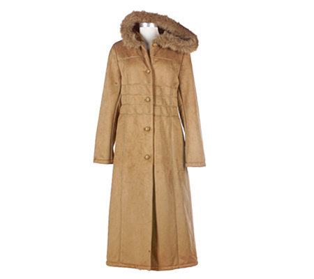 Anne Klein Faux Shearling Long Coat with Faux Fur Trimmed Hood ...