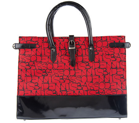 Dennis Basso Logo Print and Patent Tote Bag
