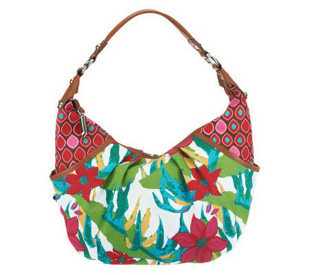 Tignanello Cotton Dual Pattern Printed Canvas Crescent Hobo